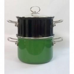 Garnek FLOX do gotowania na parze Zielono-Czarny (śr. 20 cm)
